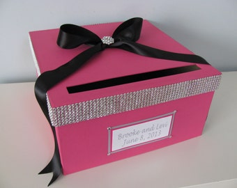 Bling Wedding Card Box You Customize Colors with Personalized Tag Large 12 inch hot pink, black, rhinestone, glam wedding