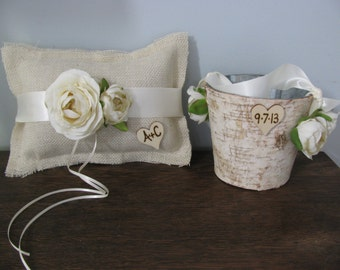 Rustic Flower Girl Basket and Burlap Ring Bearer Pillow SET Natural Birch Bark shown Ivory Ranunculus with Wood or Chalkboard Tags