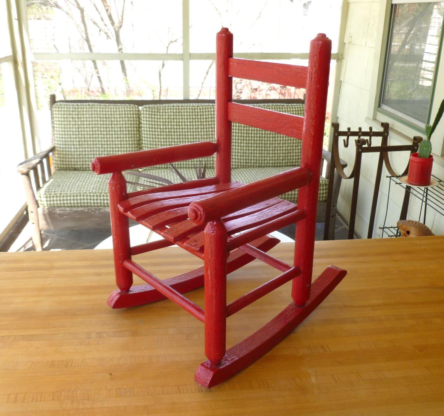 Antique Red Oak Wood Children S Rocking Chair Old Vintage