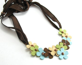 Suede Flowers Bib Necklace Vibrant Earthy Flowers Adjustable Bib Necklace