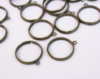 10 Antique Brass Ring Base with Loop Ring Blanks Adjustable Bronze [RNG3015] [Bin3A]