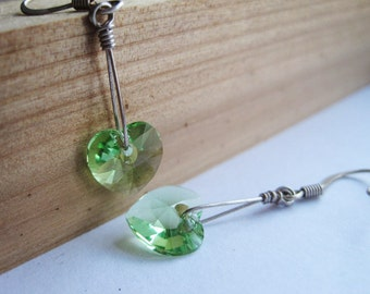 Peridot Swarovski Crystal Earrings, Sterling Silver Earrings, Green Swarovksi Heart, Valentines Day, Gift for Her, St Patricks Day, Lime