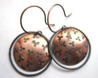 Hammered Copper Earrings, Hammered Oxidized Copper, Copper Discs, Oxidized Silver Hoops, 7th Wedding Anniversary Gift, Mixed Metal Earrings