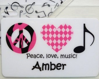 Personalized Bag Tag Music Note Bag Tag Kids Bag Tag Peace Love Music Name Tag Music Instrament Case Tag Music Party Favor