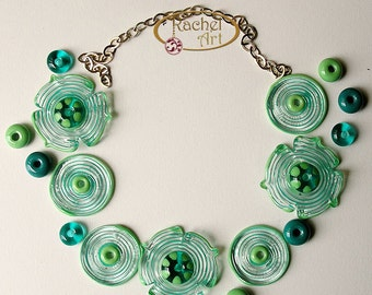 Teal Lampwork Glass Beads, FREE SHIPPING, Set of Glass Flowers Disc Beads and Donuts Spacers - Rachelcartglass