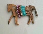 Embellished hand made primitive horse pendant SRA