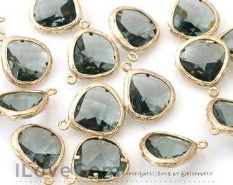 SALE/ 10pcs / G0130 Gold plated, Black Diamond, Glass fancy rosecut 13mm