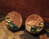 Good Luck Penny Stud Earrings with Emerald Green Glass Clusters
