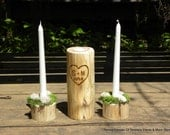 Rustic Mossy Woodland Wedding Unity Candle Sets-PERSONALIZED Made to order-Wooden Tea light Candle Holders
