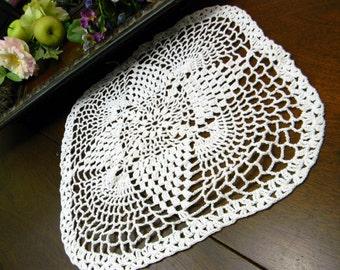 Vintage Doily - Crochet White Art Deco Sunrise Doily 9653