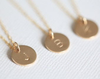 bridesmaid gift, bridesmaid necklace, monogram necklace, personalized gift - circle necklace gold filled
