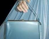 Vintage 50s Kelly Bag  // 50s Light Blue Handbag // Patent Leather Purse - VintageDevotion