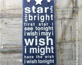 Star Light, Star Bright Typography Word Art Sign - The Perfect Sign for a Nursery