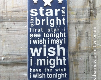 Star Light, Star Bright Typography Word Art Painted Wooden Sign - Nursery Wood Sign