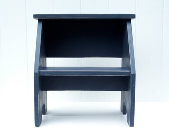 Solid Wood Vintage Style Two Step Stool in Slate Blue Handmade by Circle Creek Home