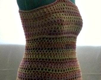 Crochet Stylish Beachwear Swimsuit CoverUp  Mini Dress Tunic Orange Yellow Ombre Summer