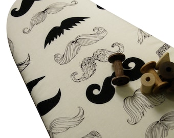 PADDED Ironing Board Cover made with Alexander Henry black mustaches on cream select the size