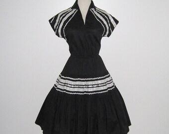 Vintage 1950s Dress / 50s Black Squaw Dress / 50s Black Squaw Dress With Silver Rick Rack By Western Fashions Denver Colorado - XS, S