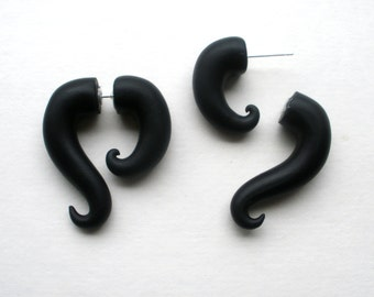 Black Innocence Fake Gauge Earring -Alternative - Pretend - Taper - Faux Gauged-