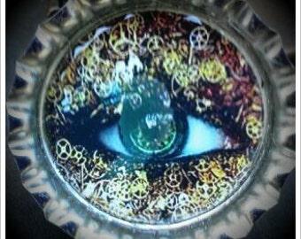 Steampunk Eye Bottle Cap Magnet