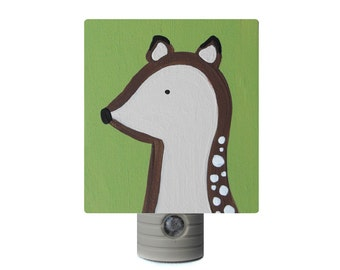 Night Light - Custom Hand Painted Children's Soft LED Light w/ Automatic Sensor Deer Woodland Critter or Any Theme