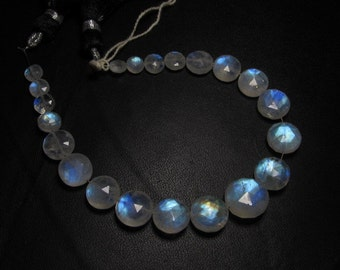 AAAA - High Quality Rainbow Moonstone Gorgeous - Flashy Fire - Faceted Coin Briolett Huge Size - 5.5 - 12 mm - 21 pcs