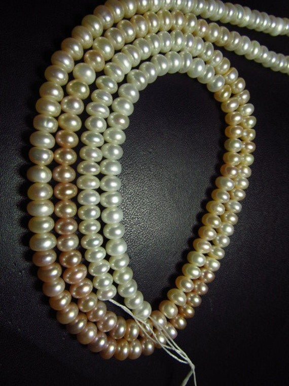 Fresh Water Pearl - 15 Inches Full Strand - Shaded Colour Smooth Rondell Beads size 6 mm approx