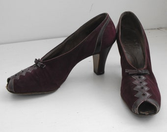 Vintage 30s Shoes Heels Suede Leather Plum 6 1/2 1930s