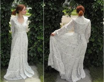 Vintage 70s Gunne Sax Floral Dress Corset Prairie XXS XS Bridal Wedding