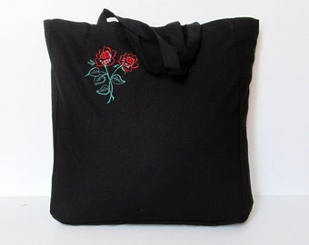 Embroidered Tote Bag, Black Cotton, Grocery Reusable Bag, Eco-friendly Natural Beach Tote Bag, FREE SHIPPING
