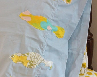 Yellow Birds on A Wire  Vintage Pillowcase with Vintage Fabric Accents