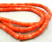 Gemstone bead, Orange Pink Coral ,Heishi Cut Spacer Beads, Large Heishi Bead, 6.6x6-8mm  16 inches