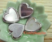 4 pcs Silver Plated 23x23mmHeart-shaped Locket Charm with Setting, Nickel Free