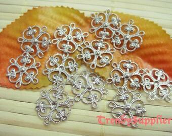 12 pcs, Silver Plated 16mm Flower Filigree Charm (RF014)