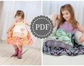 Girls Apron Dress PDF PATTERN: Girls Charlotte Apron Dress - Size 6 Month through 8 Years