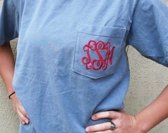 monogrammed pocket t-shirt, personalized pocket t-shirt, Comfort colors t shirt