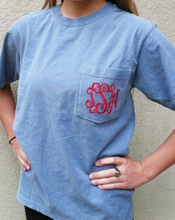 monogrammed pocket t shirt personalized pocket t shirt