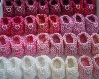 Girl baby shower decorations: 4 pairs hand knit pink/ white/ cream mini booties decorations with cute pearlised hearts - 2 inches -