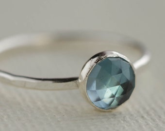 London Blue Topaz and Sterling Silver Stacking Ring