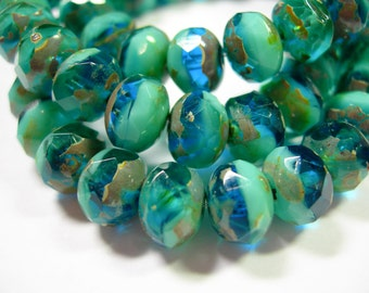 25 8x6mm Capri Blue / Turquoise Picasso Czech glass Rondelle beads