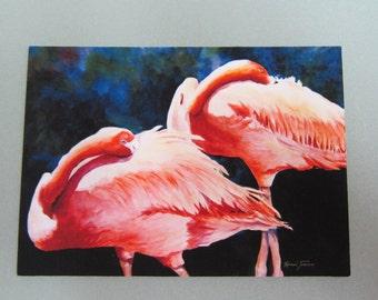 Flamingos ACEO 389 watercolor print watercolorsNmore Florida  Pink