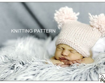 KNITTING PATTERN Pom Pom Hat - newborn, baby, photo prop, DIY, printable, instant download