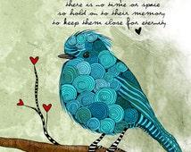 Little Blue Bird / Loss / original illustration ART Print SIGNED / 8 x 10 / NEW
