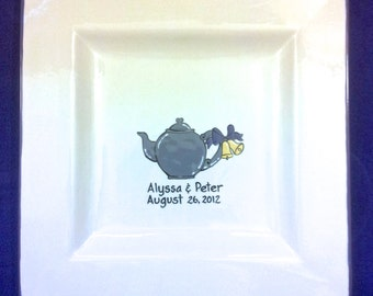 Wedding Guest Book Alternative Signature platter Bridal Tea Bridal Shower Plate - Teapot