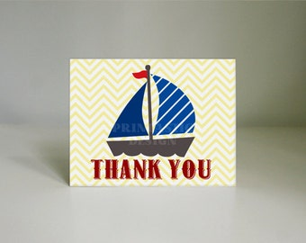 SAIL BOAT Nautical Thank You Card in Red and Navy Blue- Instant Printable Download