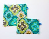 Reuseable Eco-Friendly Set of Snack and Sandwich Bags in Aqua, Gray, Green Moroccan Style Fabric