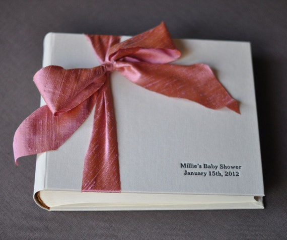 Baby Shower Guest Book - Photo Guest Book - Silk Dupioni Bow by Claire Magnolia