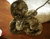 1 Antique metal flower of metallic ribbon work authentic piece