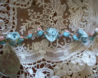 1 foot of this ribbon work silk or rayon 1920s garland in beautiful sky blue