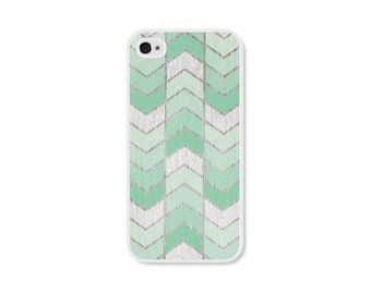 Mint Green Herringbone iPhone Case - iPhone 4 Case - Wood iPhone 4s Case - Ombre iPhone 5 Case - iPhone 5s Case - iPhone 5c Case